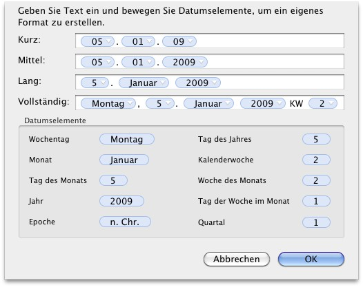 OS X > Systemeinstellungen > Sprache & Text > Formate