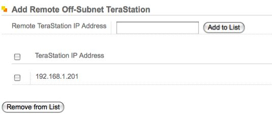 Terastation Web GUI: Add Remote Terastation
